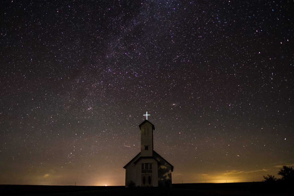 chapel under starry sky